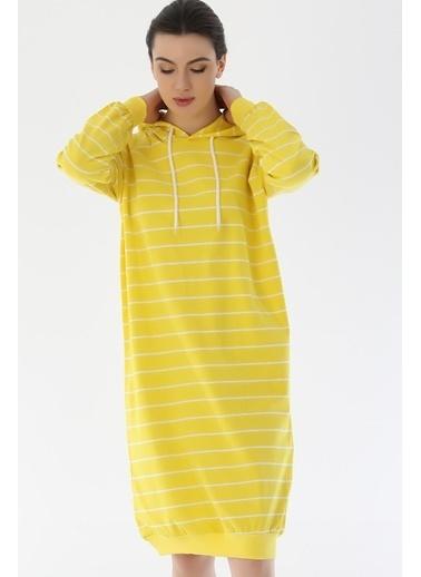 Emjey Çizgili Uzun Sweat Elbise Sarı